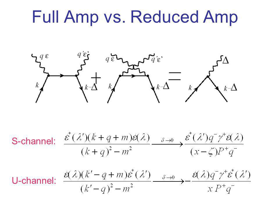 Full Amp vs. Reduced Amp S-channel: U-channel: