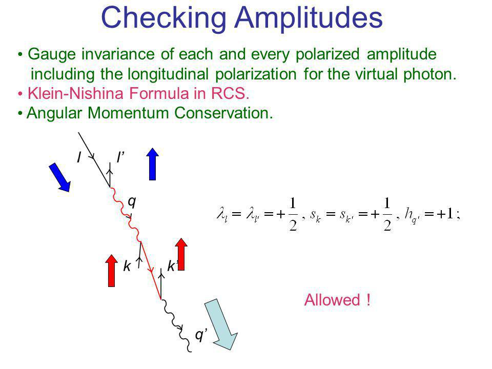 Checking Amplitudes Gauge invariance of each and every polarized amplitude including the longitudinal polarization for the virtual photon. Klein-Nishi