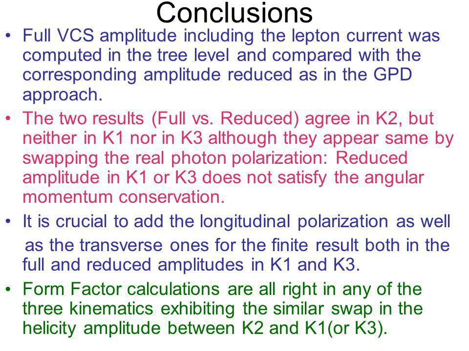 Conclusions Full VCS amplitude including the lepton current was computed in the tree level and compared with the corresponding amplitude reduced as in the GPD approach.