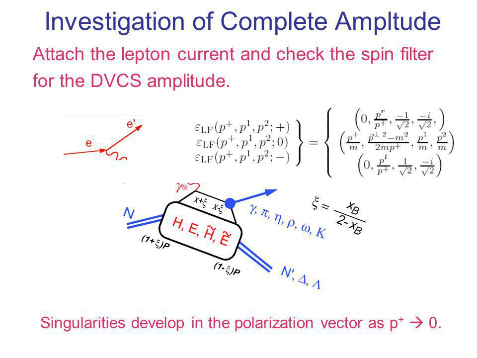 Investigation of Complete Ampltude Attach the lepton current and check the spin filter for the DVCS amplitude. Singularities develop in the polarizati