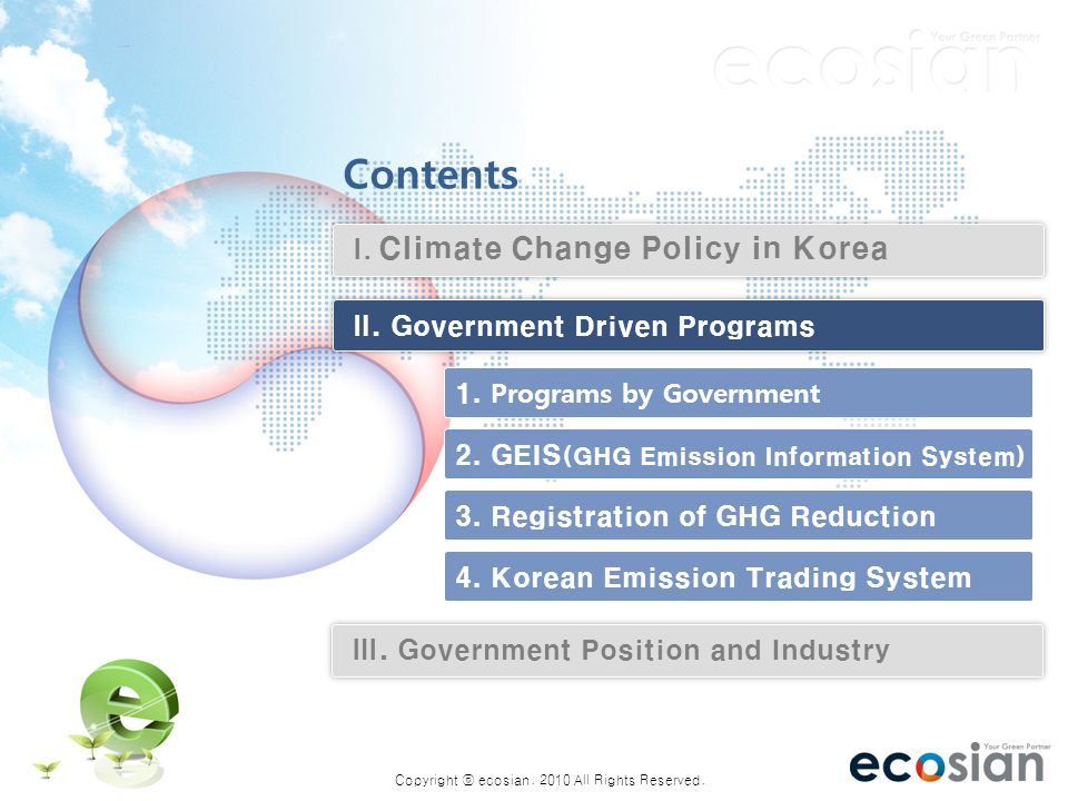 The Current Status of GHG Mitigation Policy and the Industrial Sector in Korea 7 7 1.