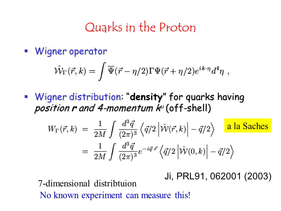 Quarks in the Proton  Wigner operator  Wigner distribution: density for quarks having position r and 4-momentum k  (off-shell) No known experiment can measure this.
