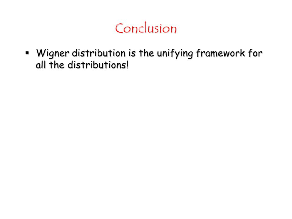 Conclusion  Wigner distribution is the unifying framework for all the distributions!