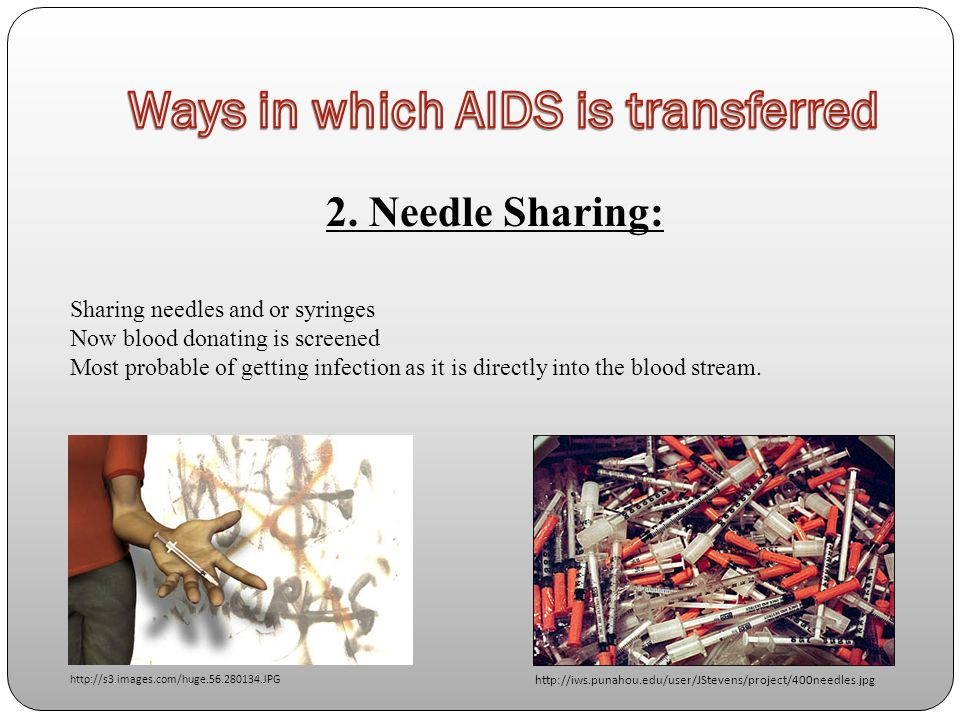 2. Needle Sharing: Sharing needles and or syringes Now blood donating is screened Most probable of getting infection as it is directly into the blood