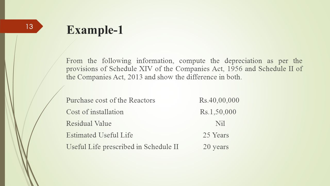 Example-1 From the following information, compute the depreciation as per the provisions of Schedule XIV of the Companies Act, 1956 and Schedule II of