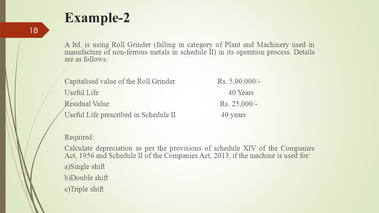 Example-2 A ltd. is using Roll Grinder (falling in category of Plant and Machinery used in manufacture of non-ferrous metals in schedule II) in its op