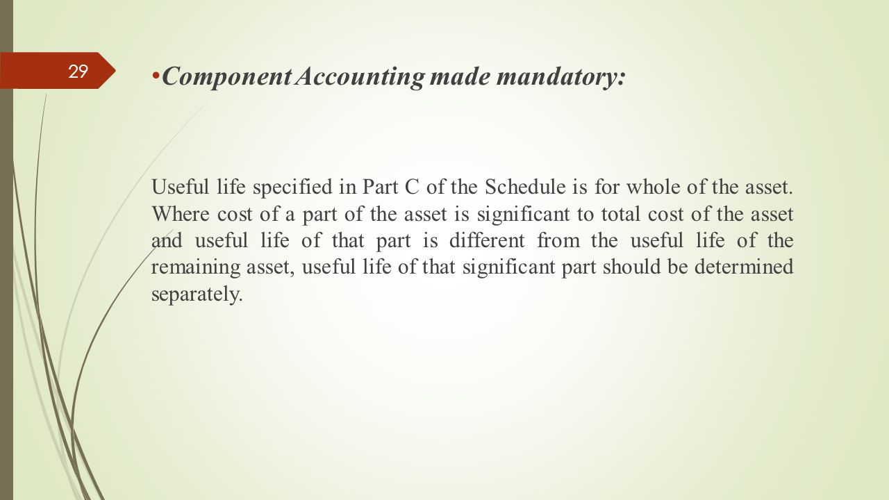 Component Accounting made mandatory: Useful life specified in Part C of the Schedule is for whole of the asset. Where cost of a part of the asset is s