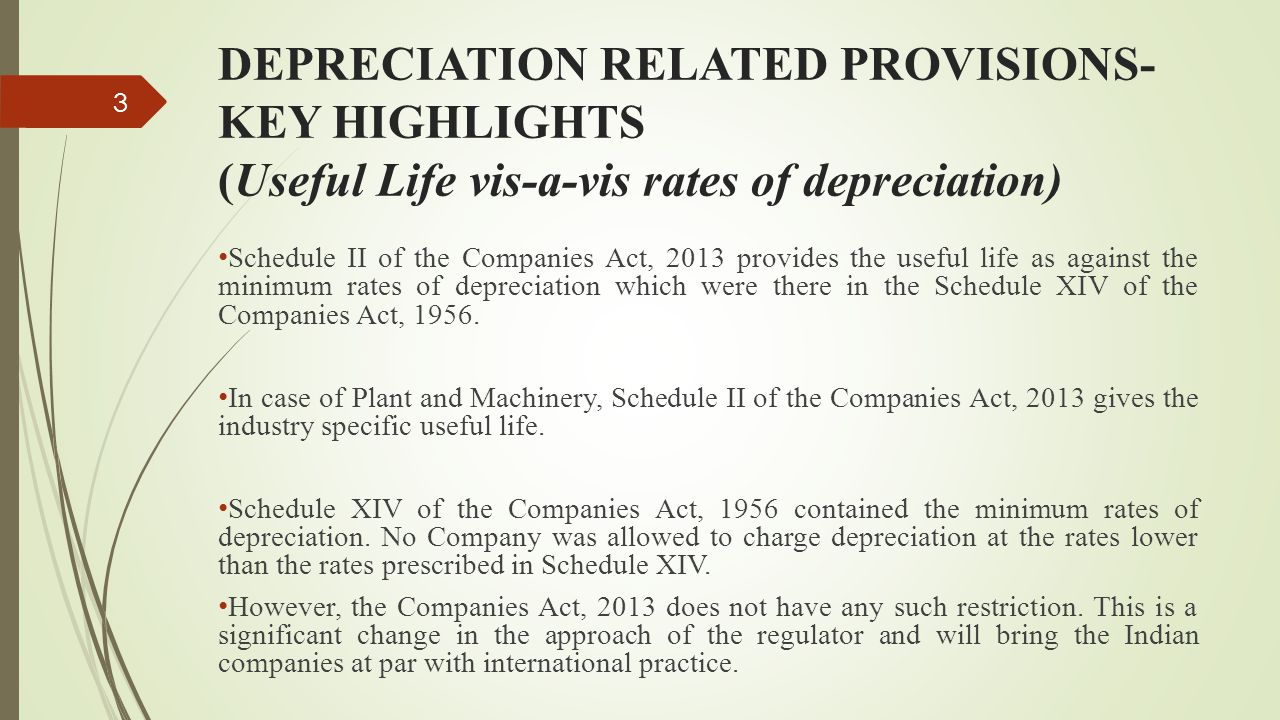 DEPRECIATION RELATED PROVISIONS- KEY HIGHLIGHTS (Useful Life vis-a-vis rates of depreciation) Schedule II of the Companies Act, 2013 provides the usef