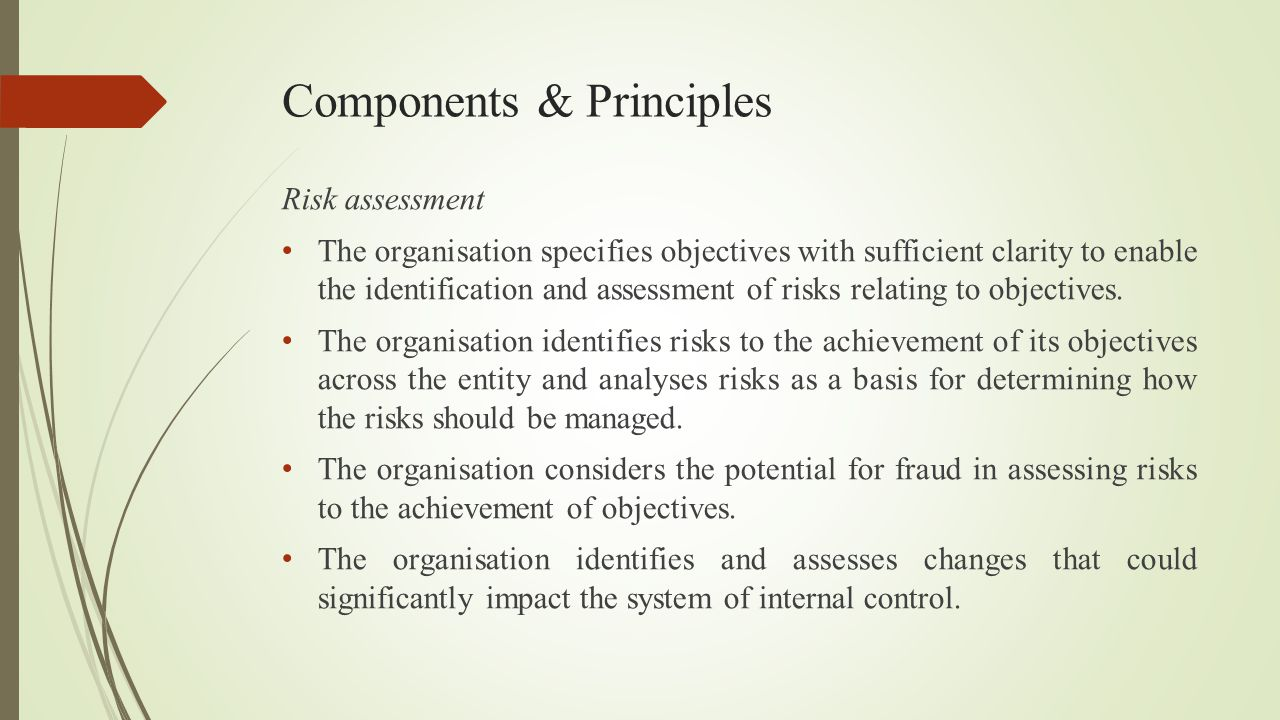 Components & Principles Risk assessment The organisation specifies objectives with sufficient clarity to enable the identification and assessment of