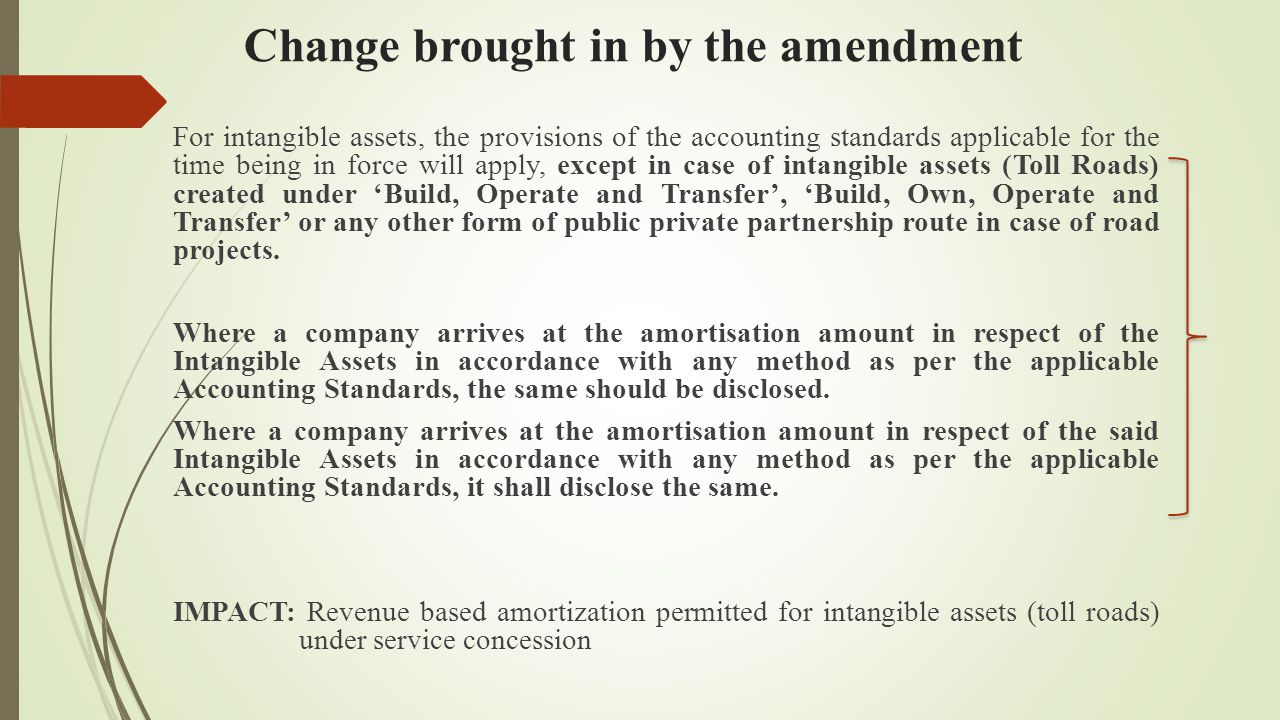 Change brought in by the amendment For intangible assets, the provisions of the accounting standards applicable for the time being in force will apply