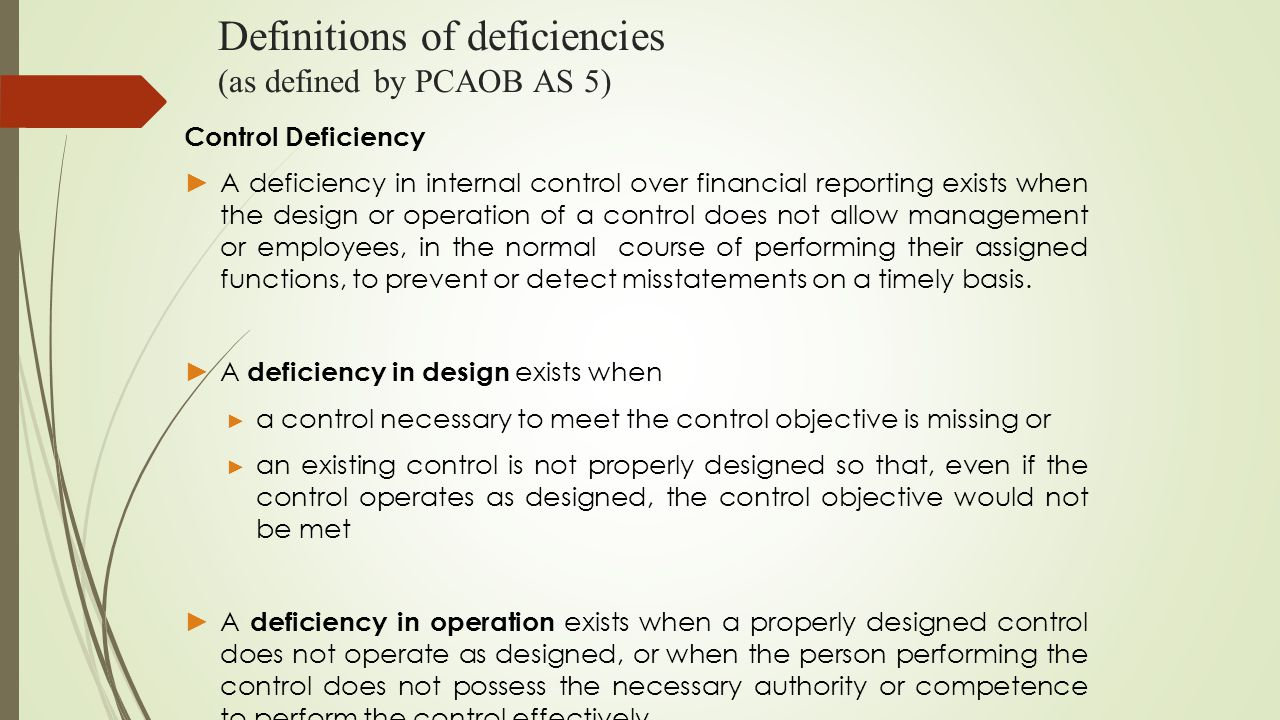 Definitions of deficiencies (as defined by PCAOB AS 5) Control Deficiency ► A deficiency in internal control over financial reporting exists when the