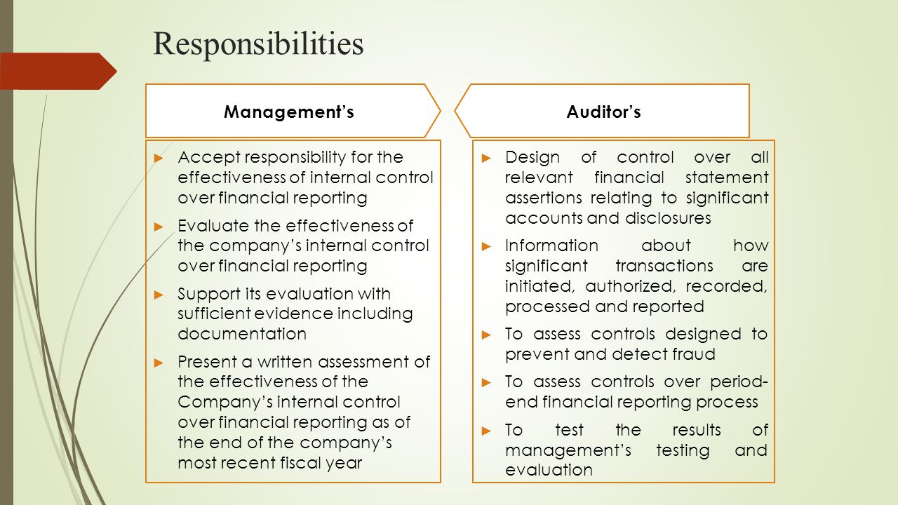 Responsibilities ► Accept responsibility for the effectiveness of internal control over financial reporting ► Evaluate the effectiveness of the compan