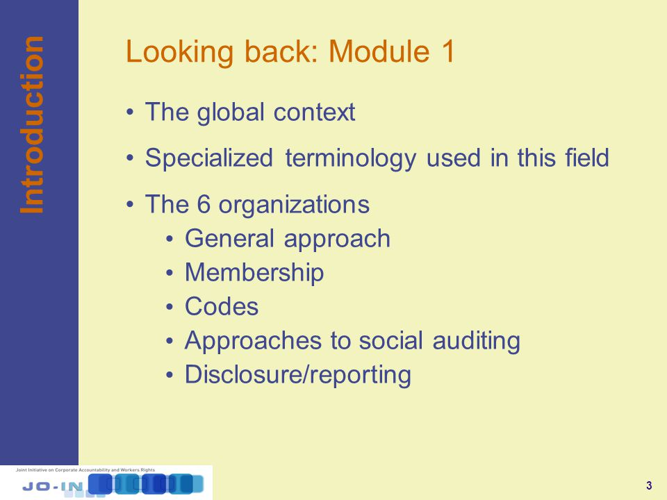 3 Looking back: Module 1 The global context Specialized terminology used in this field The 6 organizations General approach Membership Codes Approaches to social auditing Disclosure/reporting Introduction