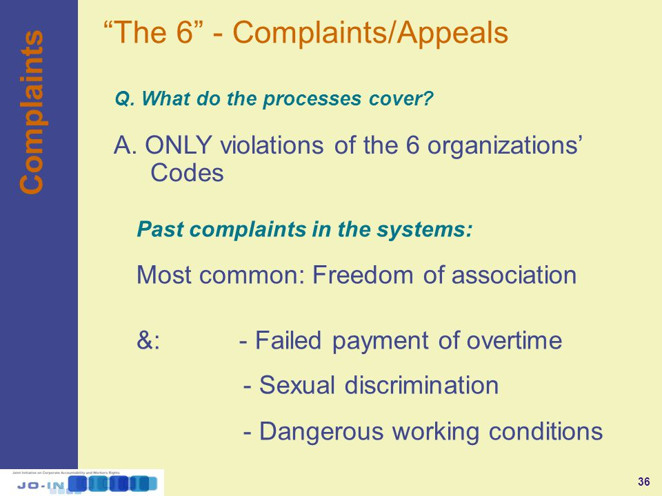 36 Q. What do the processes cover. Complaints A.
