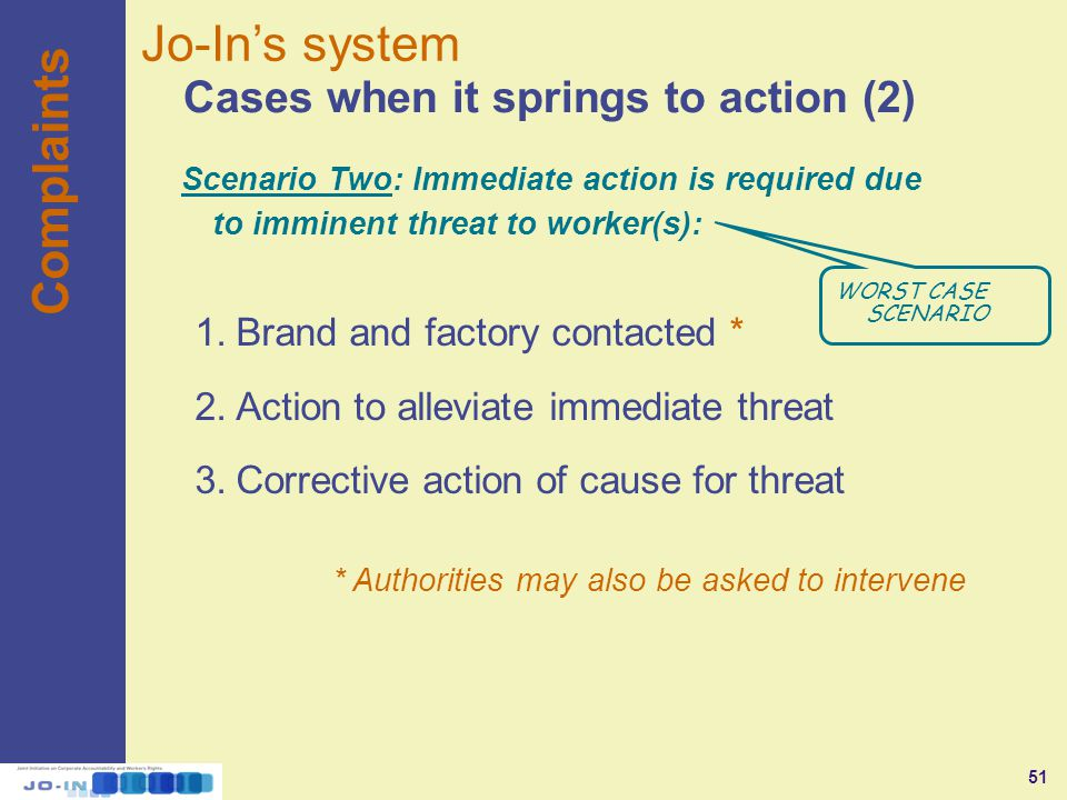 51 Complaints Cases when it springs to action (2) Jo-In's system 1.Brand and factory contacted * 2.Action to alleviate immediate threat 3.Corrective action of cause for threat * Authorities may also be asked to intervene WORST CASE SCENARIO Scenario Two: Immediate action is required due to imminent threat to worker(s):