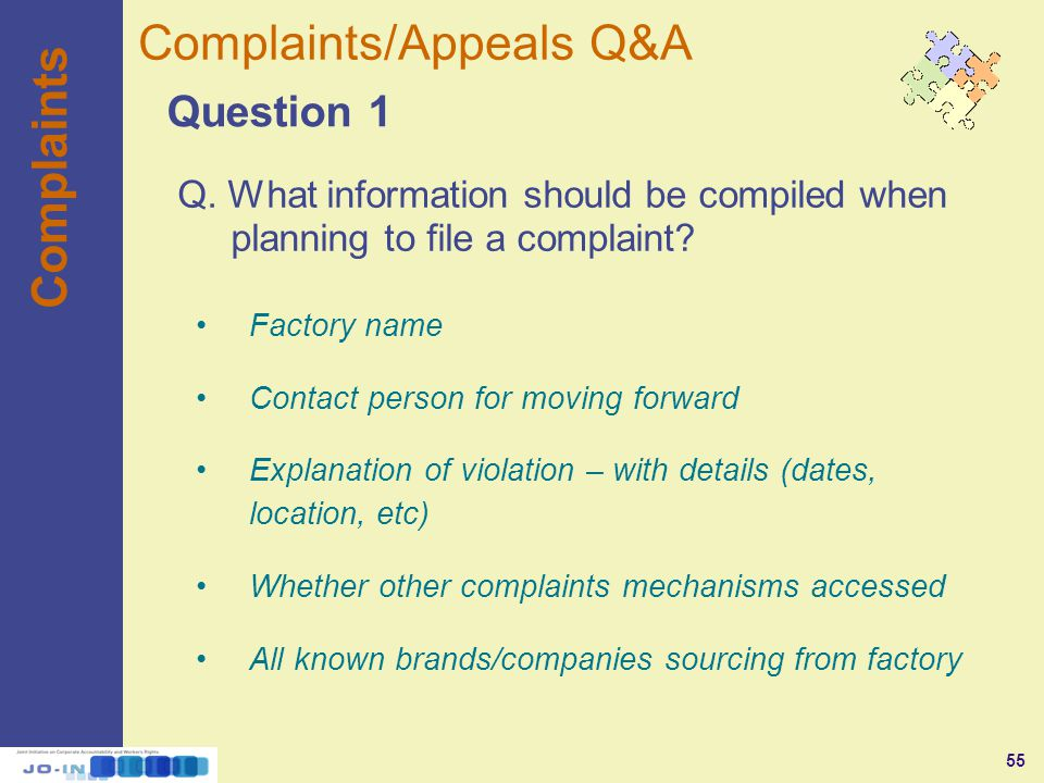 55 Complaints Question 1 Complaints/Appeals Q&A Q.