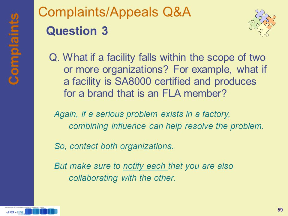 59 Complaints Question 3 Complaints/Appeals Q&A Q.