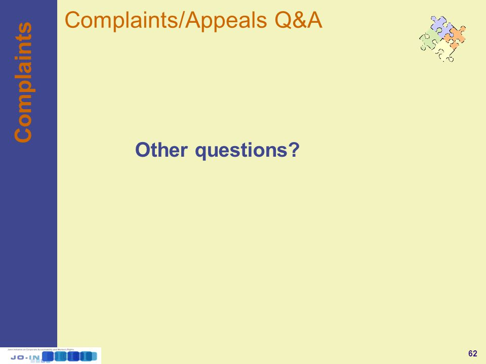 62 Complaints Other questions Complaints/Appeals Q&A