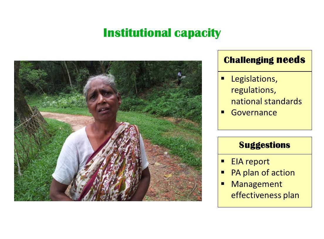 Institutional capacity Suggestions  EIA report  PA plan of action  Management effectiveness plan  Legislations, regulations, national standards  Governance Challenging needs