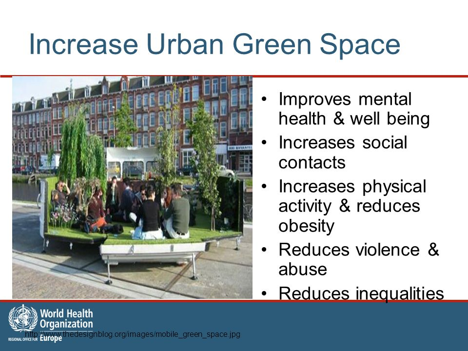 Increase Urban Green Space Improves mental health & well being Increases social contacts Increases physical activity & reduces obesity Reduces violence & abuse Reduces inequalities http://www.thedesignblog.org/images/mobile_green_space.jpg