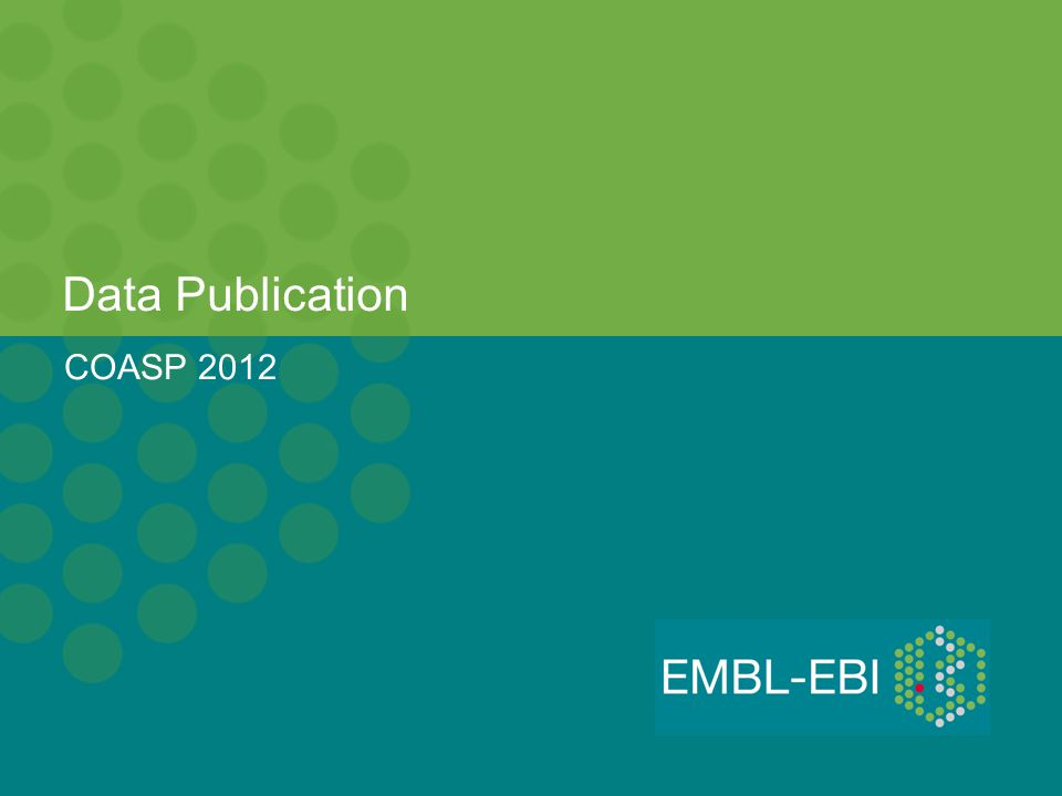 Data Publication COASP 2012