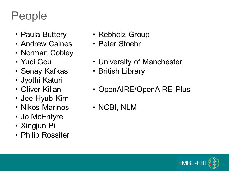People Paula Buttery Andrew Caines Norman Cobley Yuci Gou Senay Kafkas Jyothi Katuri Oliver Kilian Jee-Hyub Kim Nikos Marinos Jo McEntyre Xingjun Pi Philip Rossiter Rebholz Group Peter Stoehr University of Manchester British Library OpenAIRE/OpenAIRE Plus NCBI, NLM