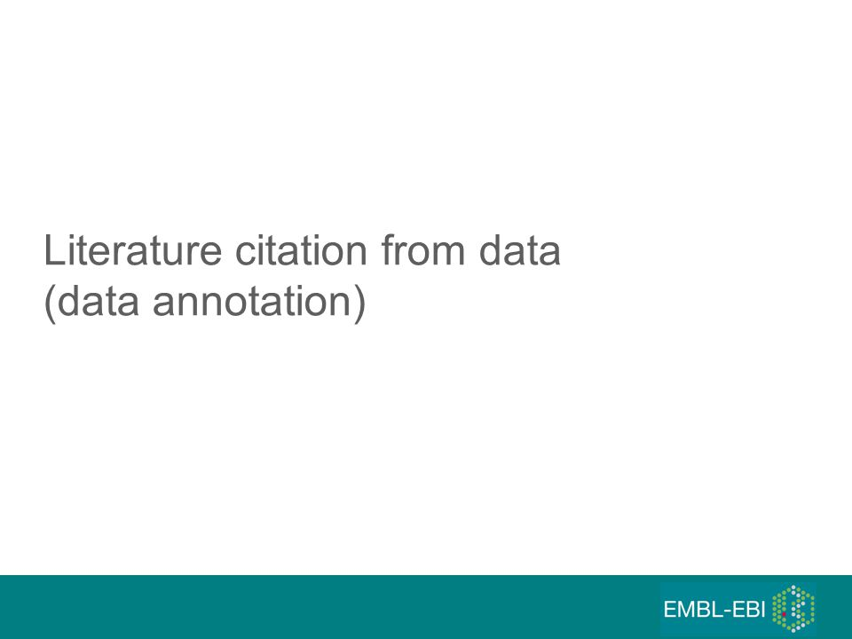 Literature citation from data (data annotation)