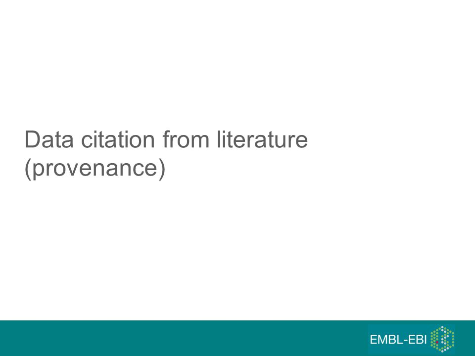 Data citation from literature (provenance)