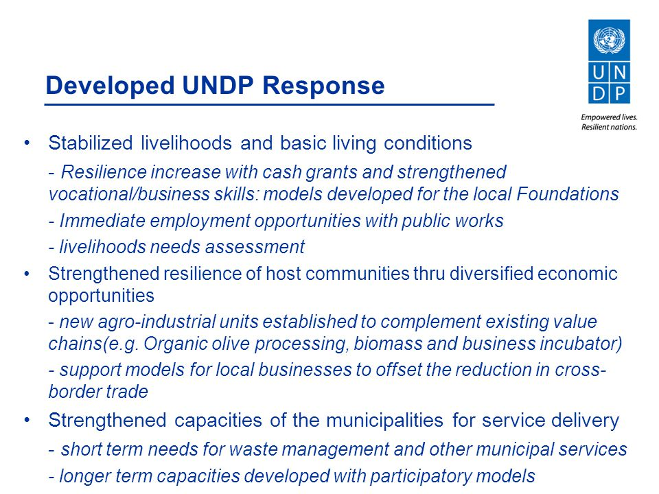 Developed UNDP Response Stabilized livelihoods and basic living conditions - Resilience increase with cash grants and strengthened vocational/business
