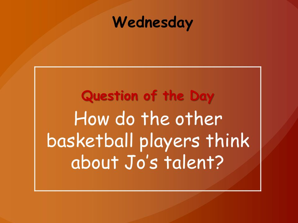 Wednesday Question of the Day How do the other basketball players think about Jo's talent?