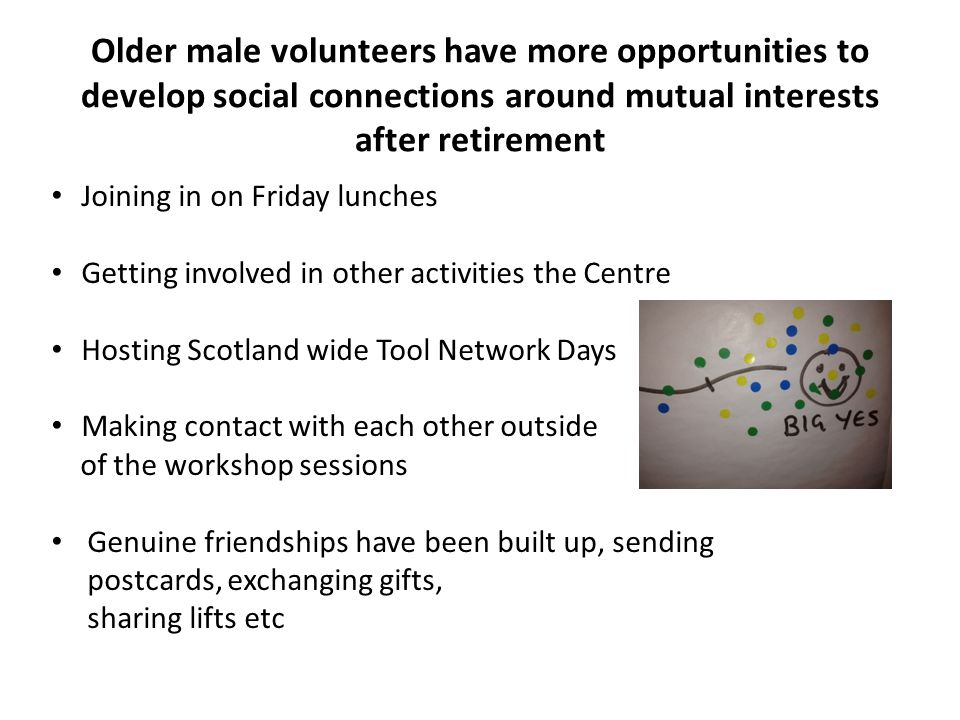 Older male volunteers have more opportunities to develop social connections around mutual interests after retirement Joining in on Friday lunches Gett