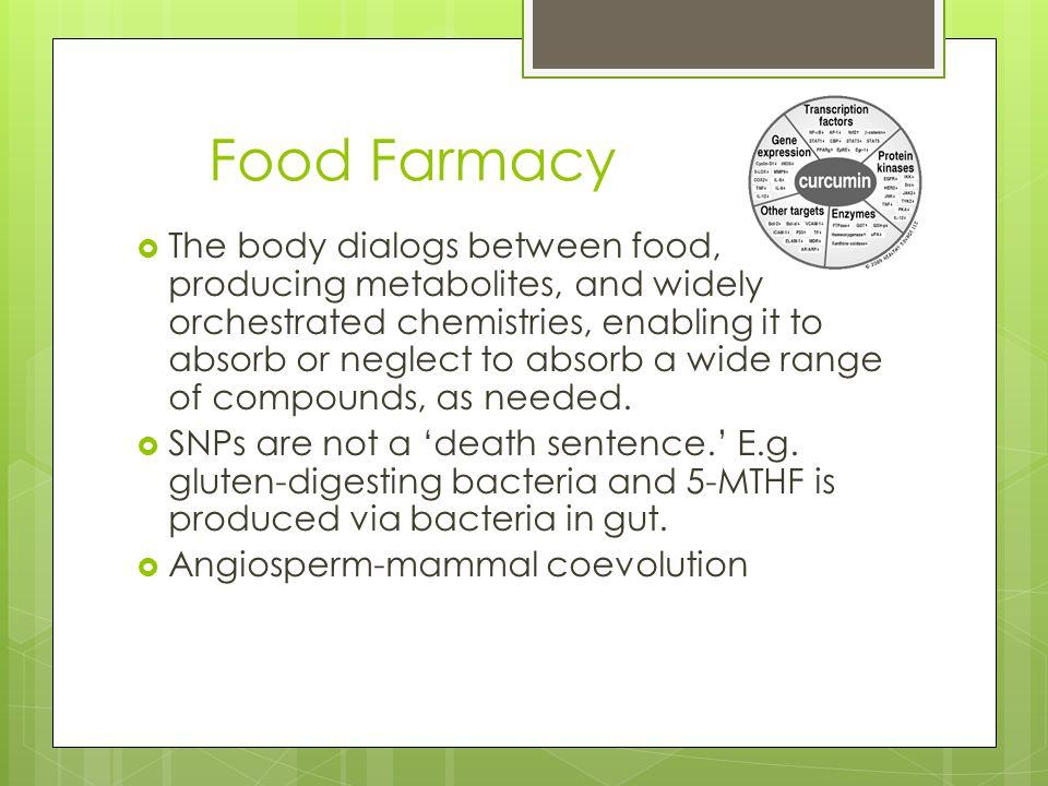 Food As Information: Dialog  Gut Brain Axis  Co-Evolutionary (broccoli/intestine)  Food 'pharmacy'  5-MTHF via biotransformation  The metabolome
