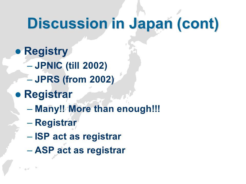 Discussion in Japan (cont) Registry –JPNIC (till 2002) –JPRS (from 2002) Registrar –Many!! More than enough!!! –Registrar –ISP act as registrar –ASP a
