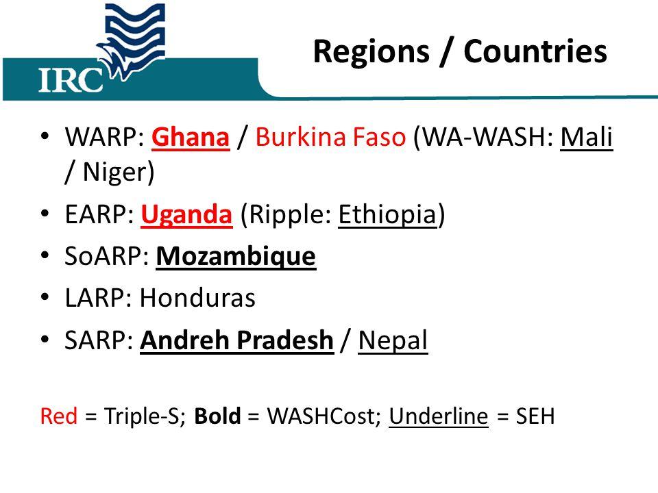 Regions / Countries WARP: Ghana / Burkina Faso (WA-WASH: Mali / Niger) EARP: Uganda (Ripple: Ethiopia) SoARP: Mozambique LARP: Honduras SARP: Andreh Pradesh / Nepal Red = Triple-S; Bold = WASHCost; Underline = SEH