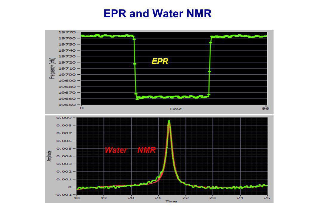 EPR and Water NMR EPR Water NMR