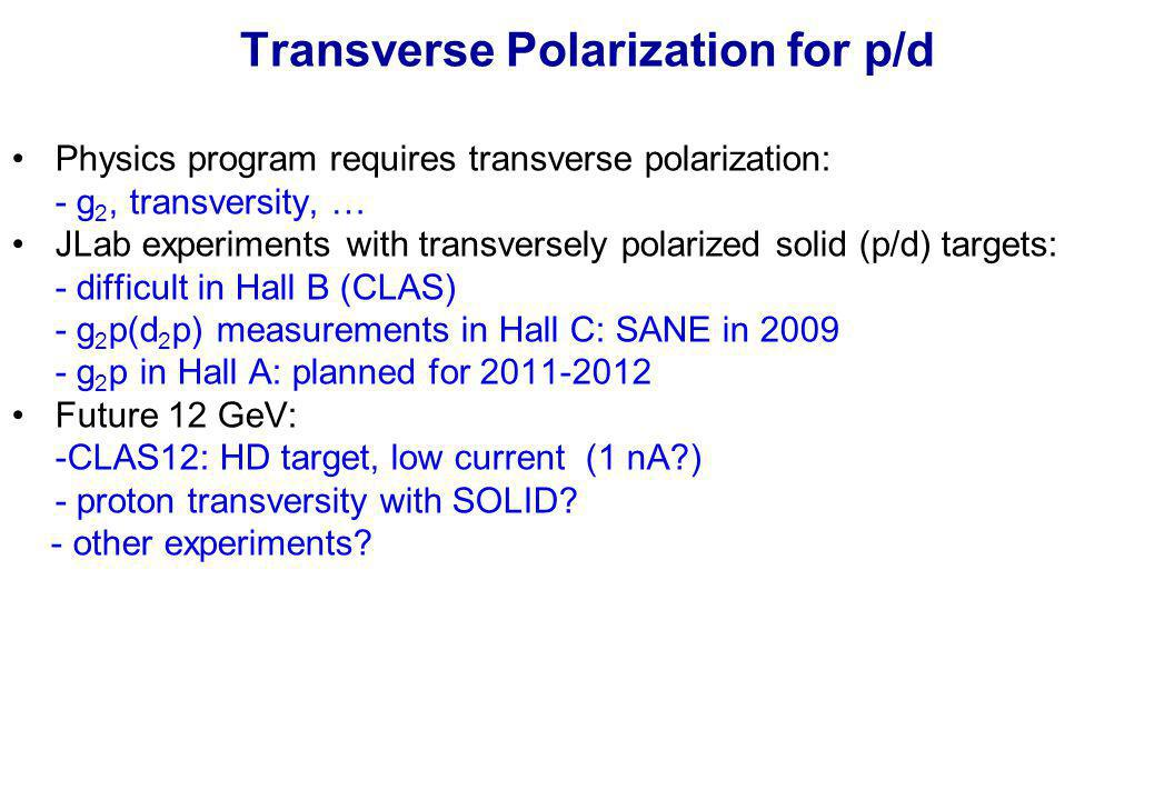 Transverse Polarization for p/d Physics program requires transverse polarization: - g 2, transversity, … JLab experiments with transversely polarized solid (p/d) targets: - difficult in Hall B (CLAS) - g 2 p(d 2 p) measurements in Hall C: SANE in 2009 - g 2 p in Hall A: planned for 2011-2012 Future 12 GeV: -CLAS12: HD target, low current (1 nA ) - proton transversity with SOLID.
