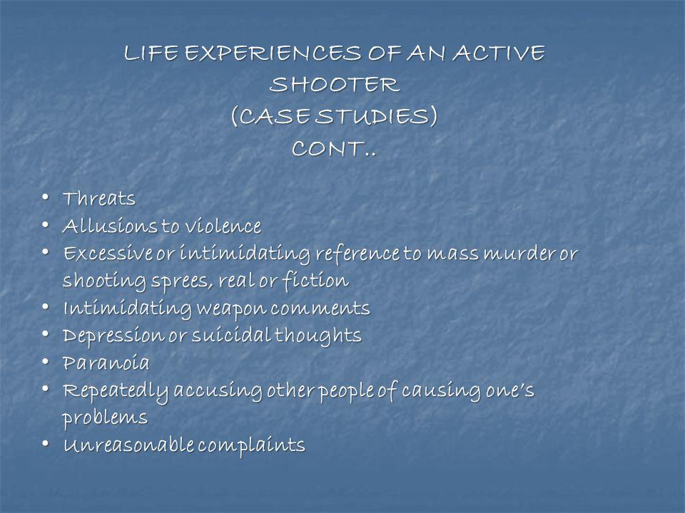 LIFE EXPERIENCES OF AN ACTIVE SHOOTER (CASE STUDIES) Abused and or felt abused Abused and or felt abused Socially isolated Socially isolated Socially