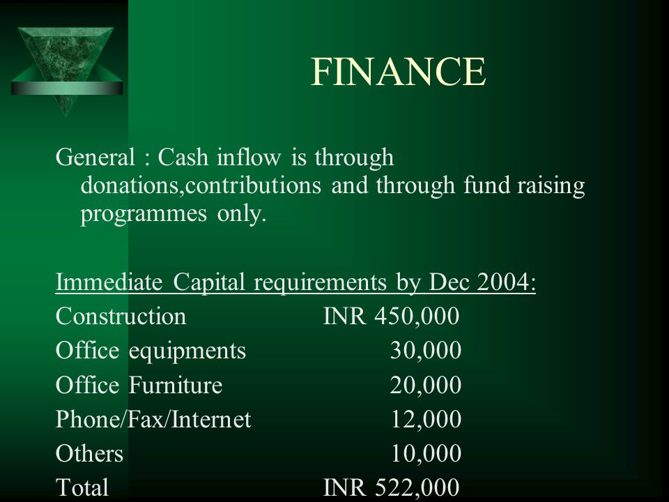 FINANCE General : Cash inflow is through donations,contributions and through fund raising programmes only.