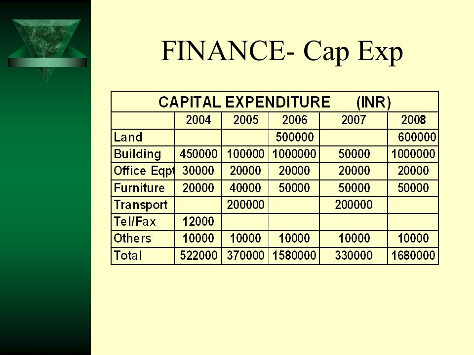 FINANCE- Cap Exp