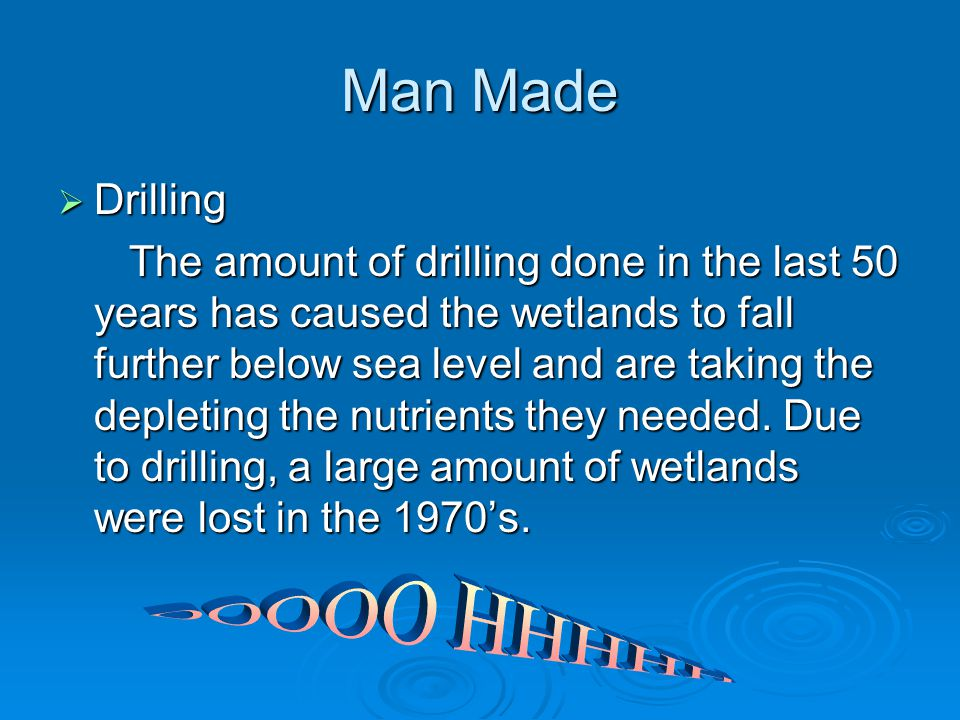 Man Made  Drilling The amount of drilling done in the last 50 years has caused the wetlands to fall further below sea level and are taking the depleting the nutrients they needed.