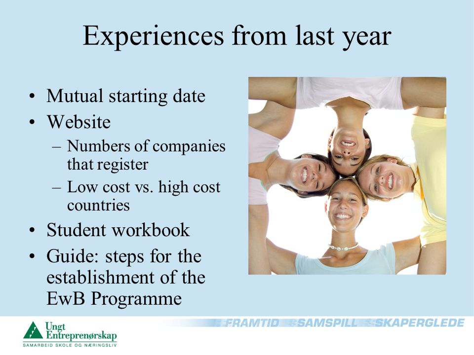 Experiences from last year Mutual starting date Website –Numbers of companies that register –Low cost vs. high cost countries Student workbook Guide: