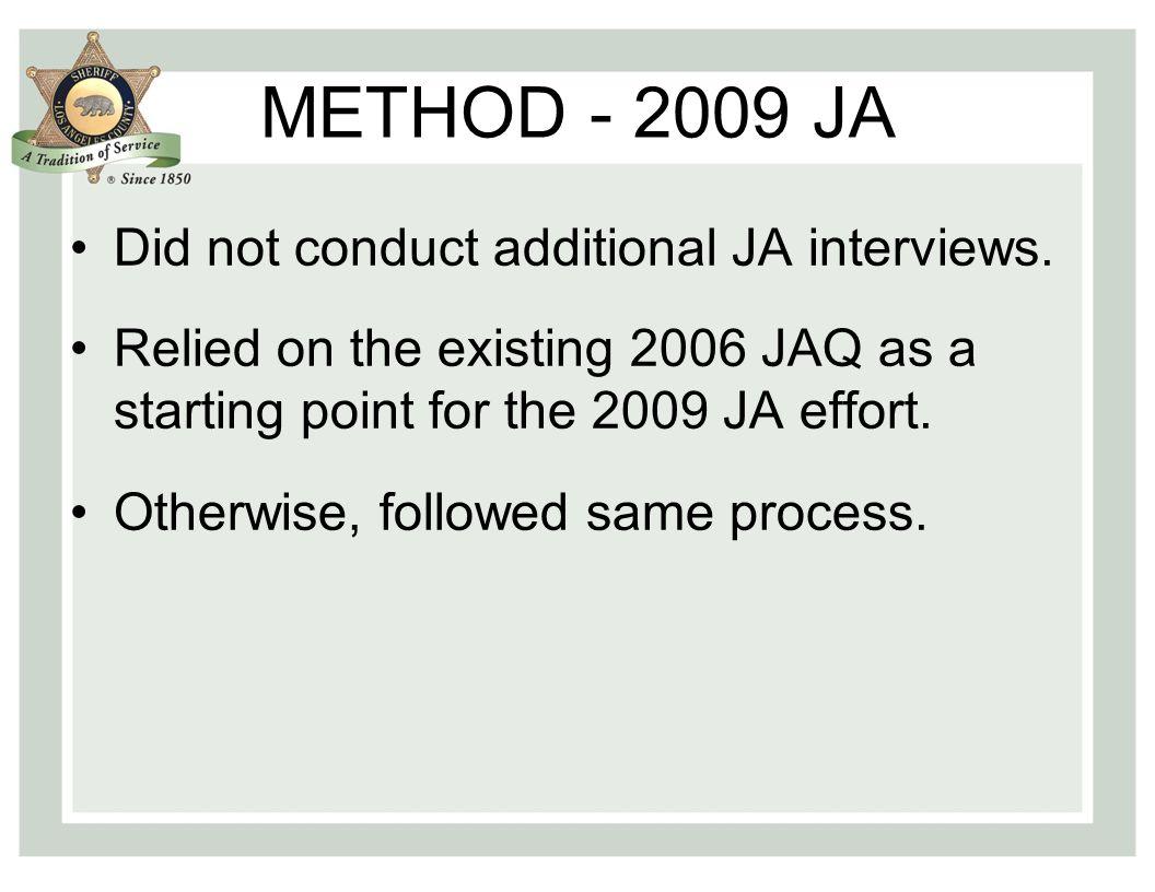 METHOD - 2009 JA Did not conduct additional JA interviews.