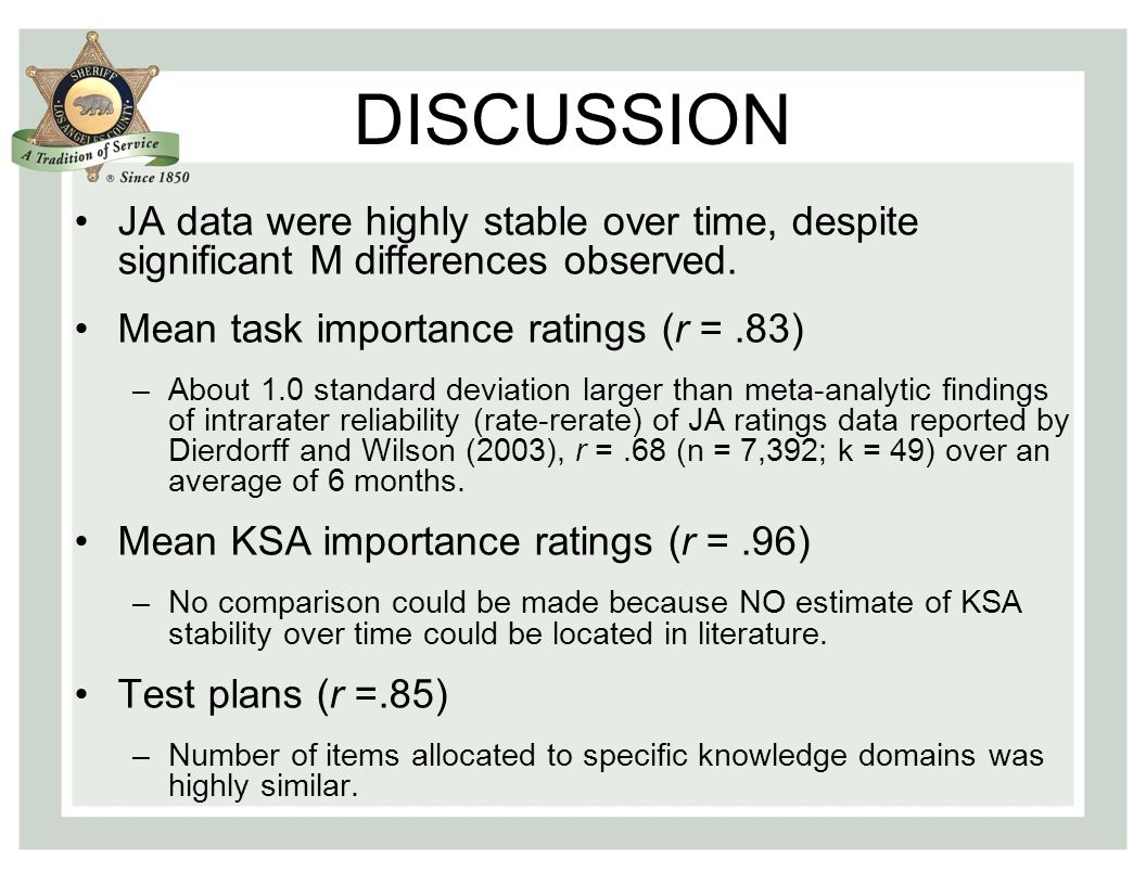 DISCUSSION JA data were highly stable over time, despite significant M differences observed.