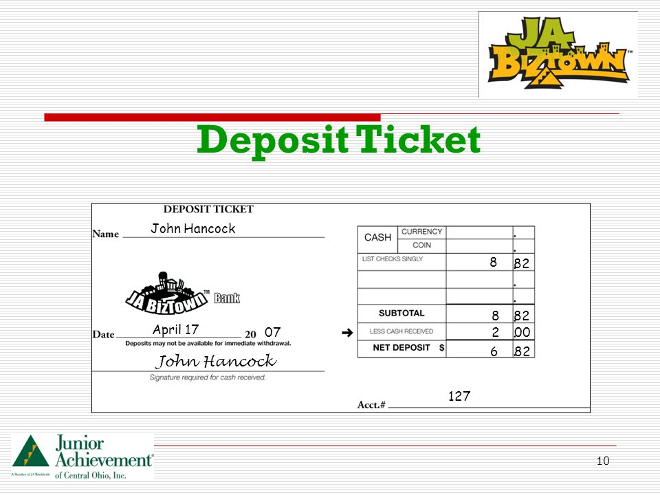 10 Deposit Ticket April 17 07 John Hancock 127 82 00 6 2 8 8 John Hancock