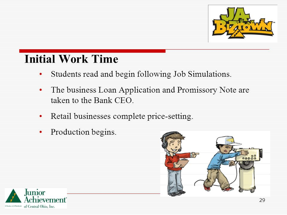 29 Initial Work Time Students read and begin following Job Simulations.