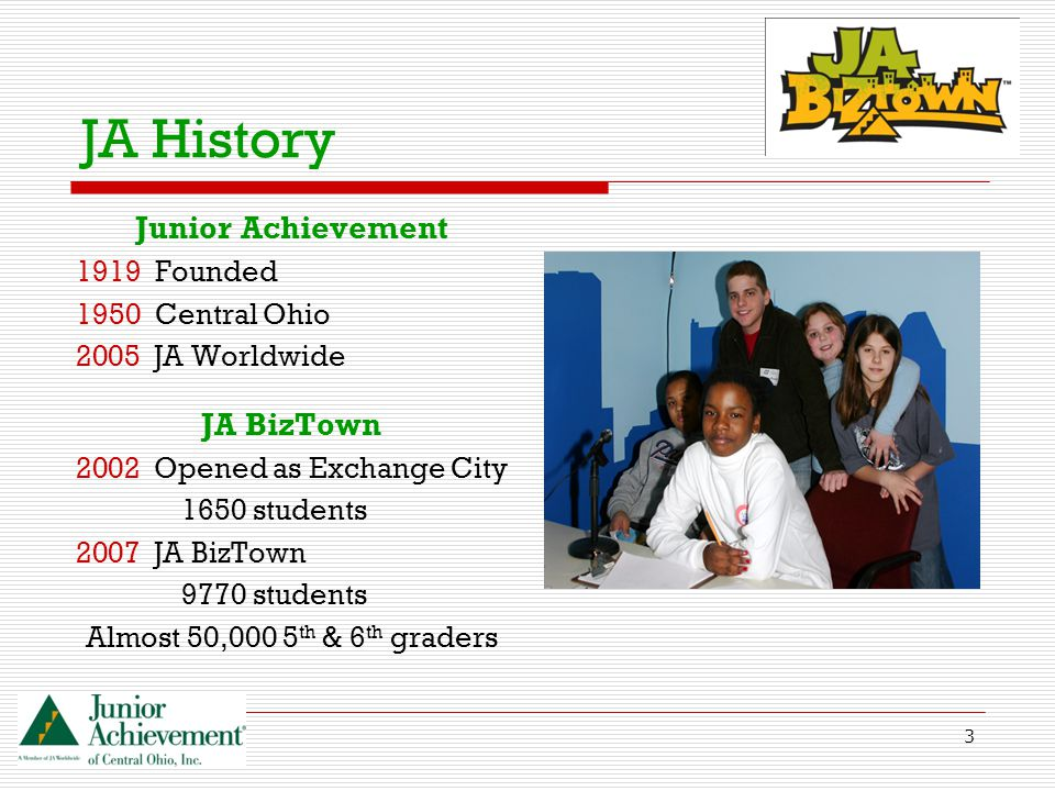3 JA History Junior Achievement 1919 Founded 1950 Central Ohio 2005 JA Worldwide JA BizTown 2002 Opened as Exchange City 1650 students 2007 JA BizTown 9770 students Almost 50,000 5 th & 6 th graders