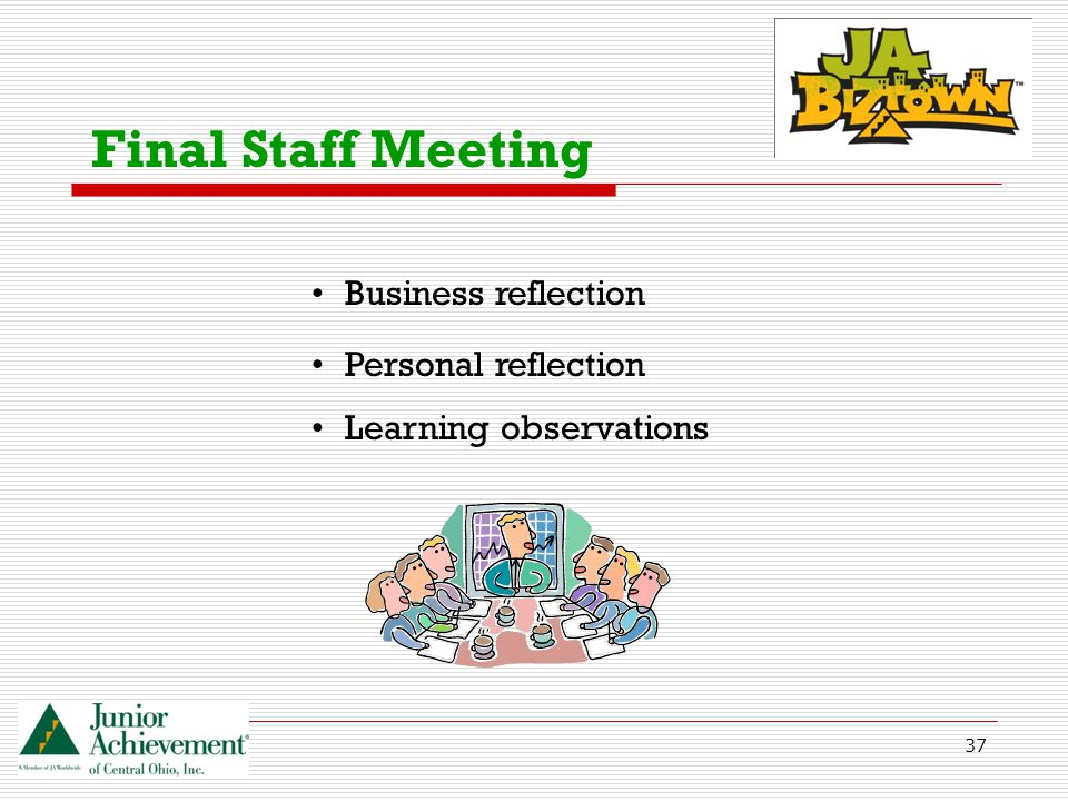 37 Final Staff Meeting Business reflection Personal reflection Learning observations
