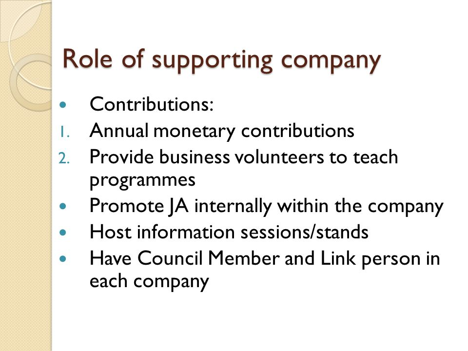 Role of supporting company Contributions: 1. Annual monetary contributions 2.