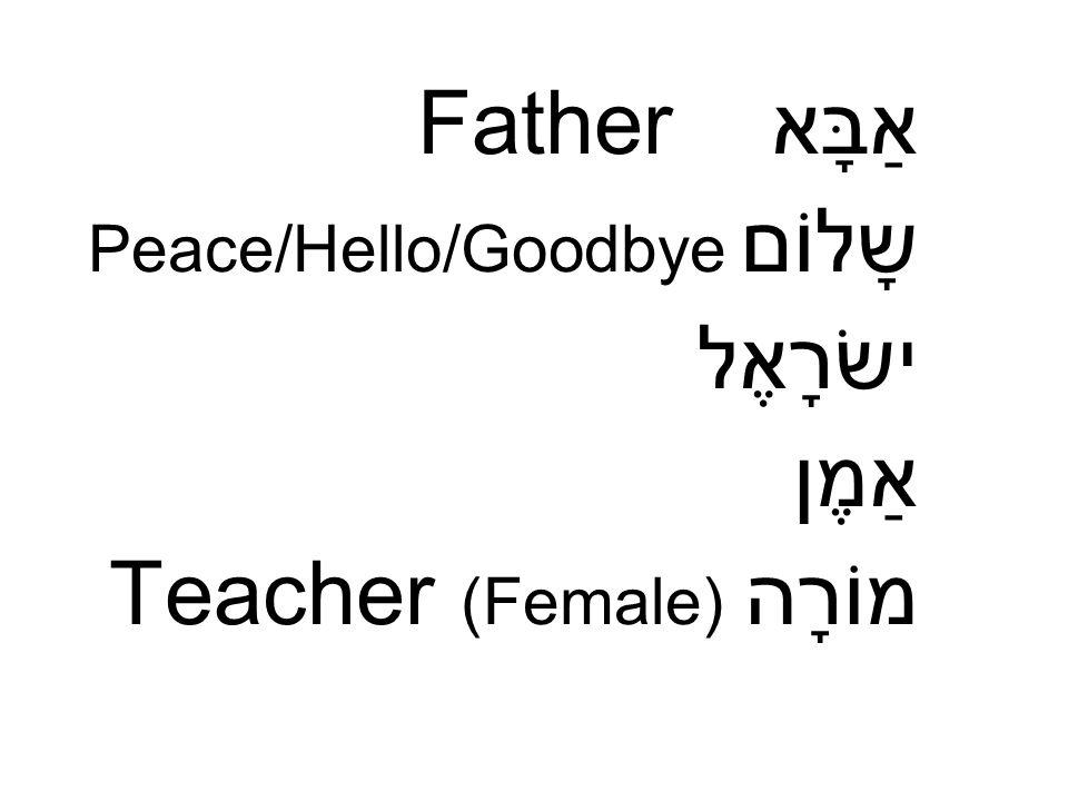 אַבָּא Father שָלוֹם Peace/Hello/Goodbye ישׂרָאֶל אַמֶן מוֹרָה Teacher (Female)