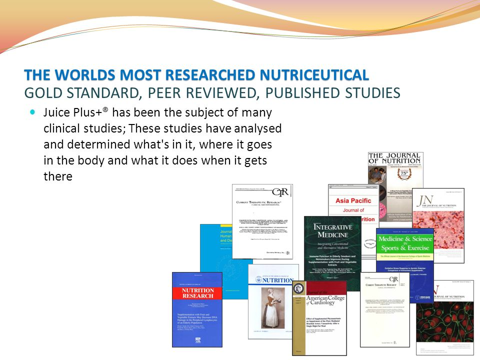 Juice Plus+® has been the subject of many clinical studies; These studies have analysed and determined what's in it, where it goes in the body and wha
